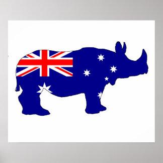 Drapeau australien - rhinocéros poster