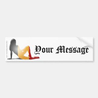Drapeau belge de silhouette de fille autocollant de voiture