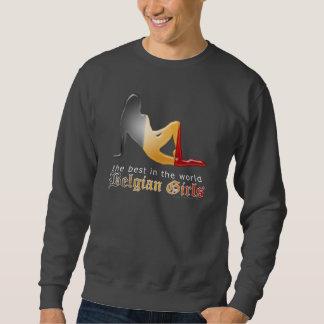 Drapeau belge de silhouette de fille sweatshirt