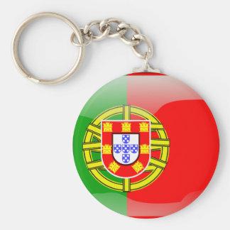 Drapeau brillant du Portugal Porte-clé Rond