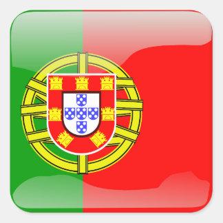 Drapeau brillant du Portugal Sticker Carré