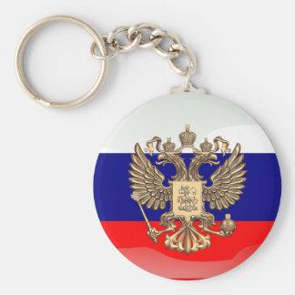 Drapeau brillant russe porte-clé rond
