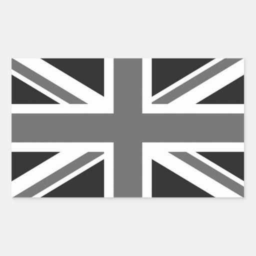Drapeau britannique noir et blanc autocollant rectangulaire