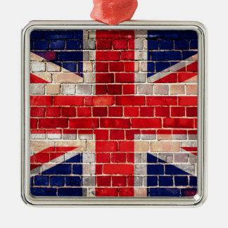 Drapeau BRITANNIQUE sur un mur de briques Ornement Carré Argenté