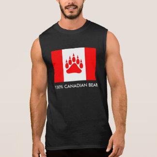 Drapeau canadien d'ours canadien de 100% avec la t-shirt sans manches