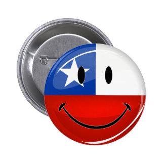 Drapeau chilien de sourire de rond brillant badge rond 5 cm