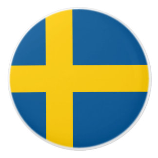 Drapeau de bouton en céramique de la Suède