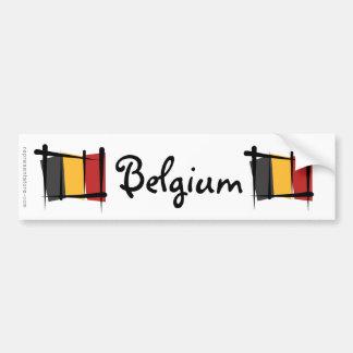 Drapeau de brosse de la Belgique Autocollants Pour Voiture
