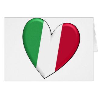 Drapeau de coeur de l'Italie Carte De Vœux
