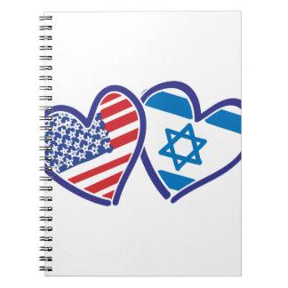 Drapeau de coeur des Etats-Unis Israël Carnets