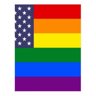 Drapeau de fierté d'arc-en-ciel des USA Carte Postale