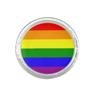 Drapeau de gay pride bagues avec photo