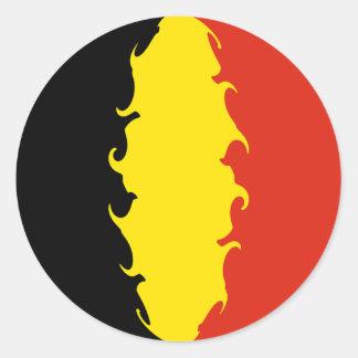 Drapeau de la Belgique Adhésifs Ronds