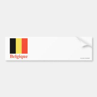 Drapeau de la Belgique avec le nom en français Adhésif Pour Voiture