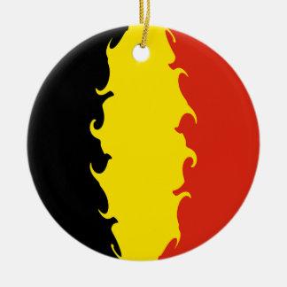 Drapeau de la Belgique Ornement Rond En Céramique