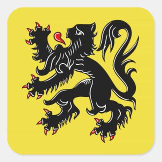 Drapeau de la Flandre (Belgique) Sticker Carré