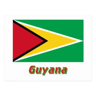 Drapeau de la Guyane avec le nom Carte Postale