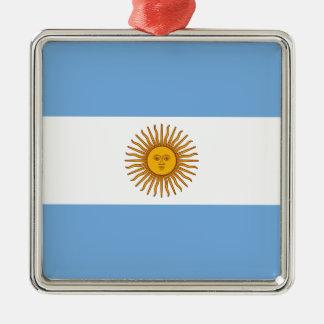 Drapeau de l'Argentine Ornement Carré Argenté
