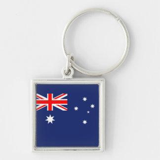 Drapeau de l'Australie Porte-clé Carré Argenté