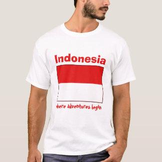 Drapeau de l'Indonésie + Carte + T-shirt des