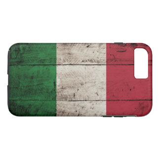 Drapeau de l'Italie sur le vieux grain en bois Coque iPhone 7 Plus