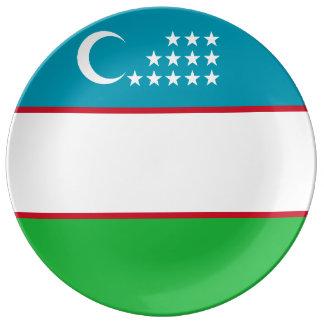 Drapeau de l'Ouzbékistan Assiette En Porcelaine
