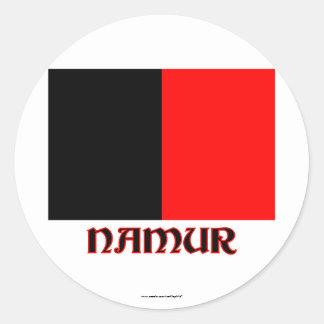 Drapeau de Namur avec le nom Autocollant Rond