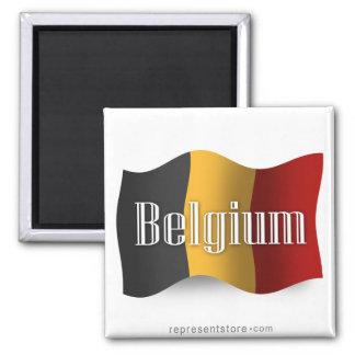 Drapeau de ondulation de la Belgique Magnet Carré