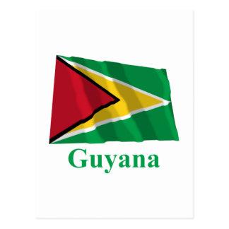 Drapeau de ondulation de la Guyane avec le nom Carte Postale