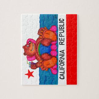 Drapeau de pieds d'ours de la Californie Puzzle