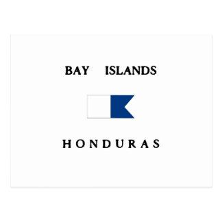 Drapeau de piqué du Honduras d'îles de baie alpha Carte Postale