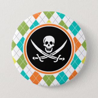 Drapeau de pirate sur le motif à motifs de badge rond 7,6 cm