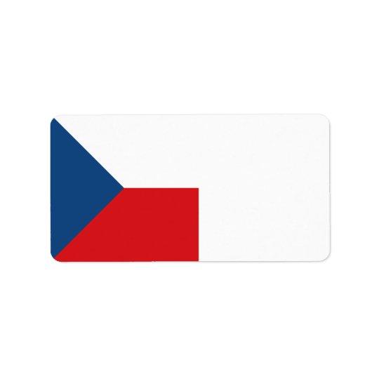 Drapeau de République Tchèque Étiquette D'adresse