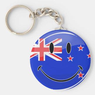 Drapeau de sourire de la Nouvelle Zélande Porte-clé Rond