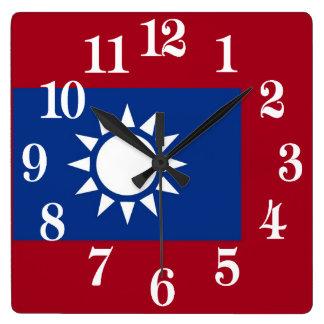 Drapeau de Taïwan République de Chine Horloge Carrée
