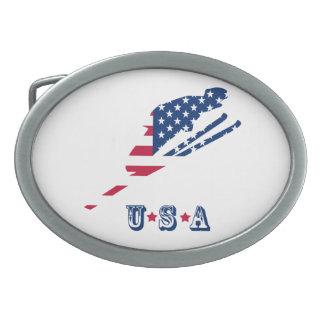 Drapeau des Etats-Unis d'Américain de ski de Boucle De Ceinture Ovale
