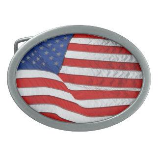 Drapeau des USA pour les patriotes américains Boucles De Ceinture Ovales