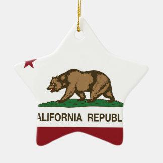Drapeau d'état de la Californie Ornement Étoile En Céramique