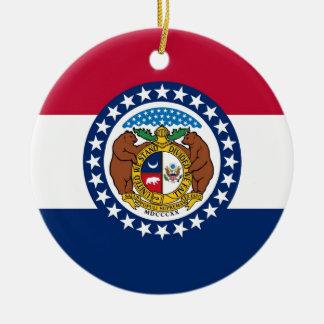 Drapeau d'état du Missouri Ornement Rond En Céramique