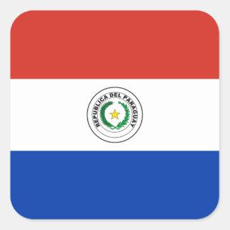 Drapeau d'étiquette du Paraguay Sticker Carré
