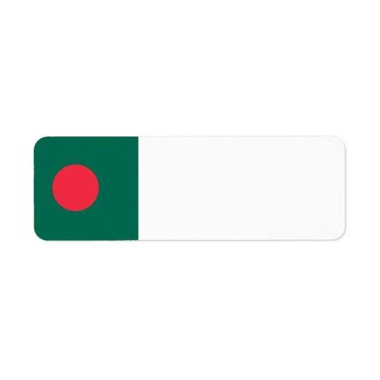 Drapeau du Bangladesh Étiquette D'adresse Retour