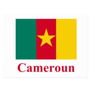 Drapeau du Cameroun avec le nom en français Carte Postale