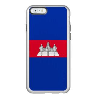 Drapeau du coque iphone argenté du Cambodge