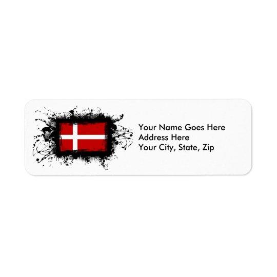 Drapeau du Danemark Étiquette D'adresse Retour