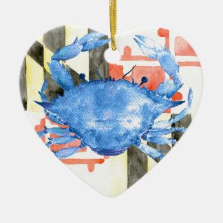 Drapeau du Maryland d'aquarelle et crabe bleu Ornement Cœur En Céramique