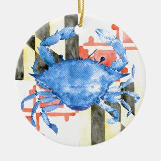 Drapeau du Maryland d'aquarelle et crabe bleu Ornement Rond En Céramique