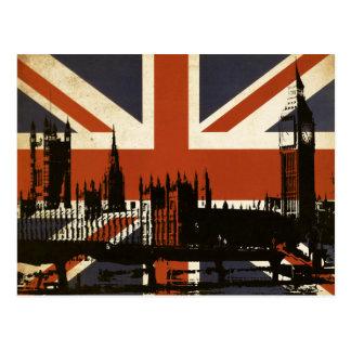 Drapeau du Royaume-Uni avec la silhouette du Carte Postale