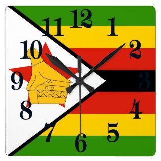 Drapeau du Zimbabwe Afrique Horloge Carrée
