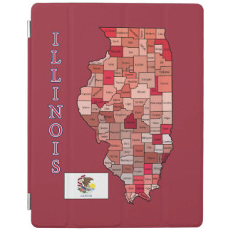 Drapeau et carte de l'Illinois Protection iPad
