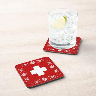Drapeau et edelweiss suisses dessous-de-verre